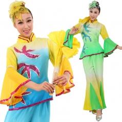 女士秧歌服装 绿色蓝色演出服装 秧歌表演服服