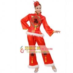 风格汇美 女士秧歌服装 大红色福字演出服装 秧歌表演服服