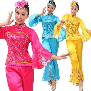 风格汇美正品特价 舞台秧歌表演服 民间舞蹈演出服 玫红黄色蓝色