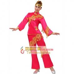 风格汇美正品 舞台秧歌表演服 民间舞蹈演出服装 红色亮片表演服