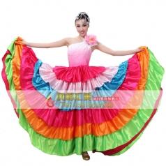 风格汇美女士七彩单肩开场舞大摆裙 民族舞台服 年会舞蹈表演长裙