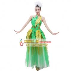 绿色树叶伴舞服 女士开场舞演出服 租赁表演舞台舞蹈大摆裙