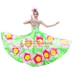 风格汇美绿色伴舞服 女士开场舞台现代演出服 表演舞蹈大摆裙