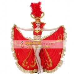 开场舞大摆裙 北京红色羽毛舞蹈演出服 现代舞蹈表演舞台装