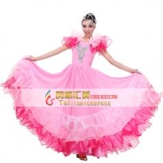 北京新款红色大摆裙舞蹈服装 开场舞蹈演出服舞台服定制