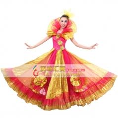 女士开场舞西班牙大摆裙 挂脖演出表演服 出售舞台伴舞长裙