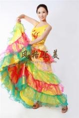 风格汇美 女士开场舞七彩大摆裙 双肩黄色现代伴舞裙 舞台演出服