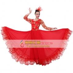 风格汇美 女士开场舞演出服伴舞大摆裙 现代舞蹈表演服民族舞台装