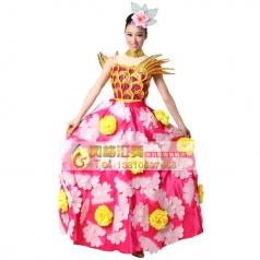 北京玫红色开场舞大摆裙 西班牙舞蹈大摆裙长裙演出服