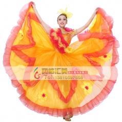 新款现代舞开场大摆裙演出服女 基督教舞 租赁西班牙舞蹈服装伴舞