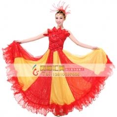 租赁开场舞舞蹈服装 出租红色伴舞演出服 开场舞大摆裙定制新款