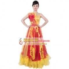 风格汇美女 现代舞蹈表演服 舞台演出开场舞大摆裙 年会伴舞长裙
