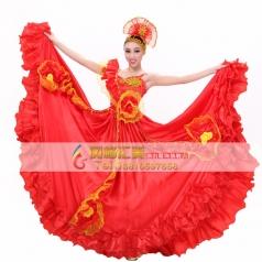 风格汇美 北京西班牙大摆裙开场舞表演服 国际舞舞蹈演出服装
