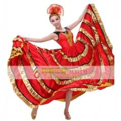 风格汇美 西班牙伴舞开场舞大摆裙 广场舞台装 现代伴舞蹈演出服