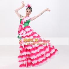 风格汇美玫红伴舞服 女士开场舞台现代演出服 表演舞蹈大摆裙