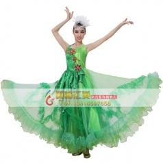 风格汇美绿色伴舞服 女士开场舞台现代演出服 租赁表演舞蹈大摆裙