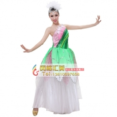 风格汇美粉色伴舞服 女士开场舞台现代演出服 租赁表演舞蹈大摆裙