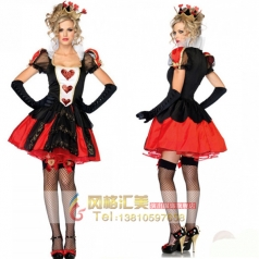 万圣节服装女成人cosplay服饰黑红桃心皇后女王化妆舞会演出制服