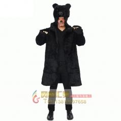 COSPLAY化妆舞会演出服装角色扮演成人男动物立体黑熊大衣