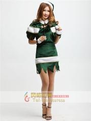 COSPLAY新年服装春节连衣裙春节聚会活动服饰 绿色女精灵