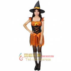 cosplay巫婆裙角色扮演服饰女巫服化妆舞会成人女演出服装
