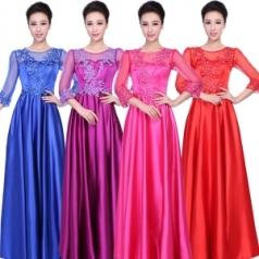 新款网纱女士合唱服 玫红色七分袖合唱服定制_风格汇美演出服饰
