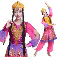 风格汇美新款新疆舞蹈演出服维族舞蹈服装女少数民族舞蹈服装