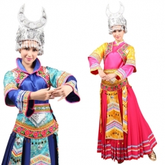 风格汇美新款苗族舞蹈盛装苗族演出服装唱歌盛装表演服民族舞蹈服
