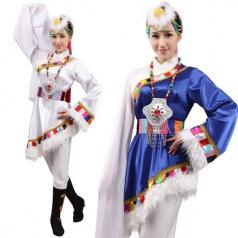 风格汇美新款白色藏族舞蹈演出服 民族舞蹈服装藏族水袖表演服女
