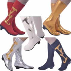 舞蹈靴 蒙古舞蹈鞋 女士民族舞蹈演出靴套高弹力靴子 鞋子银色