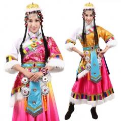 风格汇美新款藏族舞蹈演出服女士藏族舞蹈服装少数民族舞蹈大摆裙