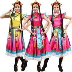 风格汇美新款藏族舞蹈演出服无袖少数民族舞蹈服装年会舞蹈服
