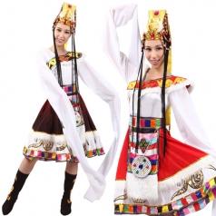风格汇美新款白色藏族舞蹈服装女少数民族舞蹈演出服水袖舞蹈服装