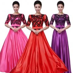 女士大合唱服装 红色丝绒中老年合唱服装
