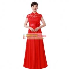 女式酒红色丝绒长款合唱服装中老年合唱服装定做