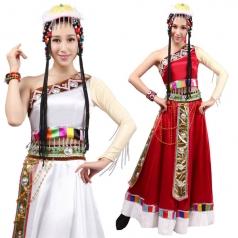 风格汇美新款藏族舞蹈演出服女成人水袖演出服装藏服民族服装