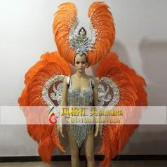 新款巴西桑巴舞的服装,狂欢节羽毛背架,桑巴舞演出服装定制专家_风格汇美演出服饰