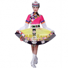 藏族舞服装定做 藏族舞演出服装批发厂家_风格汇美演出服饰