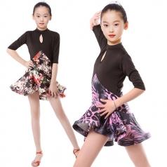 少儿拉丁比赛服装定制舞台服装女式拉丁舞服厂家_风格汇美演出服饰