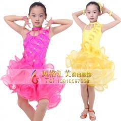 女式拉丁比赛服装表演服厂家舞台服装定做_风格汇美演出服饰