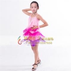 少儿拉丁舞蹈裙练习服装表演服舞蹈裙定做_风格汇美演出服饰