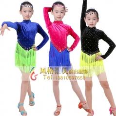 少儿拉丁表演服装定做拉丁练习服厂家_风格汇美演出服饰