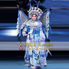 舞台戏服表演女靠表演服定制头饰白蟒服戏服设计_风格汇美