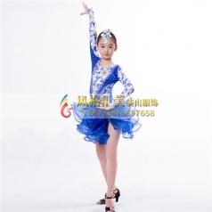 少儿拉丁舞蹈服定做表演服_风格汇美演出服饰