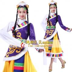 藏族舞蹈服装定做表演服装舞台服装定做行家_风格汇美演出服饰