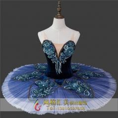 蓝色芭蕾舞台表演服装定制_风格汇美演出服饰