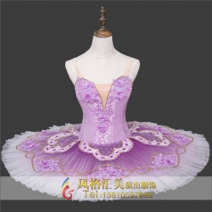 新款紫色芭蕾舞裙表演服厂家_风格汇美演出服饰