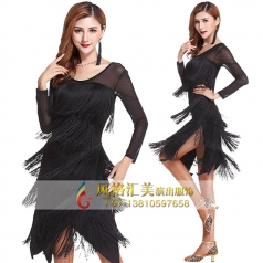 拉丁演出服女连衣裙夏新款拉丁舞蹈比赛服装