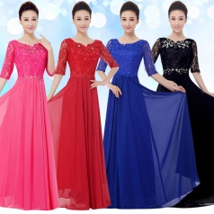 合唱舞台服装女士长裙合唱团服装设计