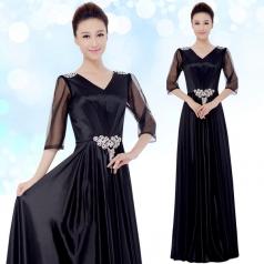 成人黑色女士合唱服装长裙合唱团服装定制